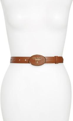 Prada Round Logo Plate Saffiano Leather Belt