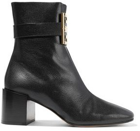 Givenchy Buckle-embellished Textured-leather Ankle Boots