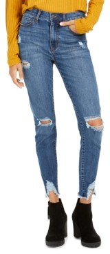 Celebrity Pink Juniors' Ripped Raw-Edge Skinny Ankle Jeans