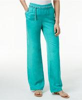 JM Collection Linen-Blend Chain-Belt Pants, Only at Macy's