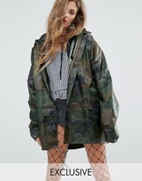 Reclaimed Vintage Inspired Raincoat In Camo