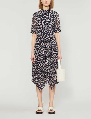 Whistles Cheetah print pleated midi dress
