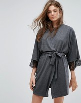 New Look Jersey Robe With Lace Trim