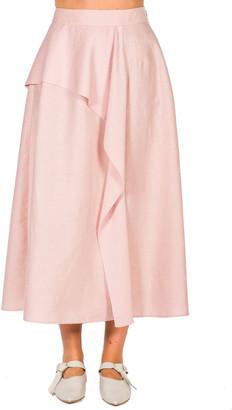 Agnona Ruffled Linen-Blend Midi Skirt