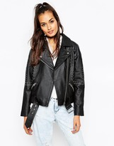 Asos Leather Biker Jacket in Boxy Fit with Eyelet Embellishment
