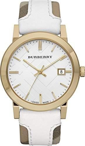 Burberry BU9015 Women's Swiss Heymarket Check Fabric and Leather Band Dial Watch