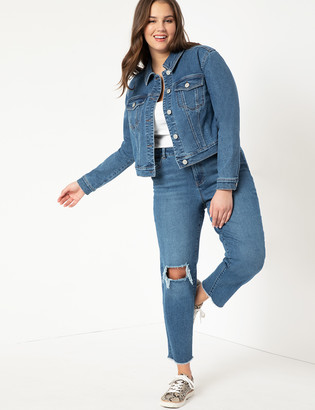 ELOQUII Distressed Relaxed Jeans