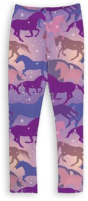 Urban Smalls Girls' Leggings Multi - Purple Sparkle Horse Toastie Leggings - Girls