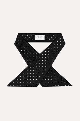 Saint Laurent Studded Silk-satin Scarf - Black