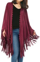 Allegra K Women's Fringe Trim Scalloped Front Suede Poncho Shawl Cape XL