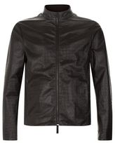 Giorgio Armani Croc-Embossed Leather Zip Jacket