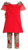 Bonnie Baby Newborn Cheetah-Print-Detail Top & Cheetah-Print Leggings Set