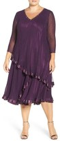 Komarov Plus Size Women's Embellished Tiered A-Line Dress