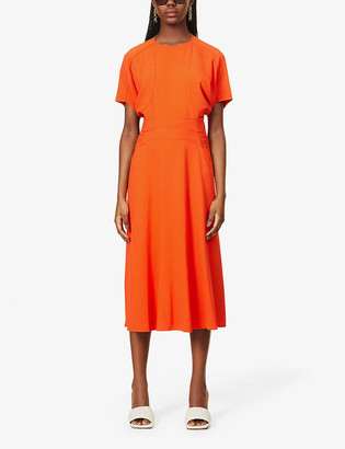 Victoria Beckham Pin-tucked crepe midi dress
