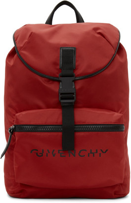 Givenchy Red Split Logo Packaway Backpack