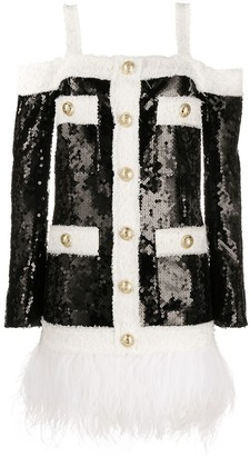 Balmain Sequin-Embellished Feather-Hem Dress