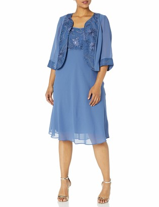 Le Bos Women's Plus Size Embroidered Trim Flare Jacket Dress