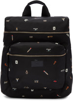 Paul Smith Black 'Cufflink Charm' Print Backpack