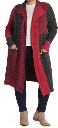 Joseph A Colorblock Open Front Knit Cardigan