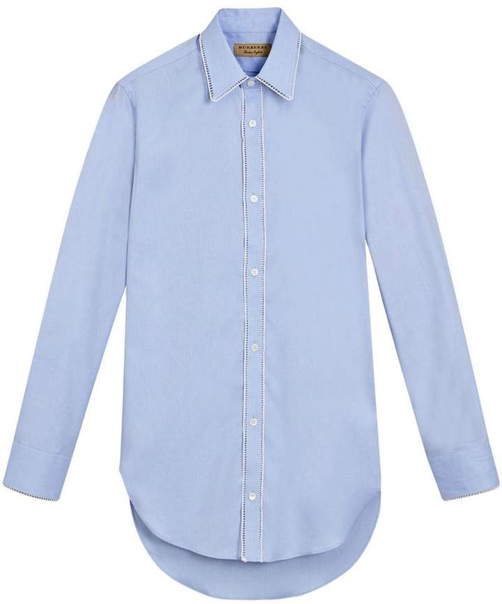 Burberry Embroidered Trim Cotton Oxford Shirt