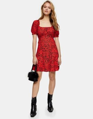 Topshop leopard print gathered bust mini dress in red