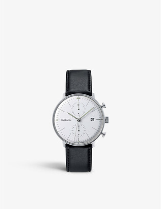 Junghans Mens Silver 027/4600.00 Max Bill Chronoscope Stainless Steel And Leather Watch