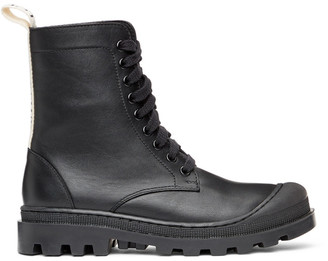 Loewe Black Leather Combat Boots