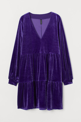 H&M V-neck Velour Dress - Purple