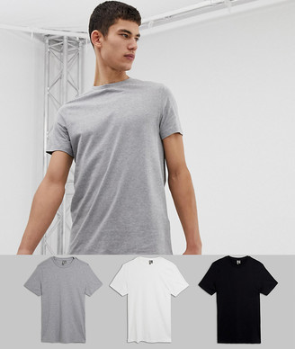 Asos Design DESIGN Tall 3 pack t-shirt with crew neck save-Multi