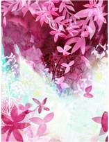 Urban Road Falling Leaves Canvas Print, Leaf Fushsia 60x90cm