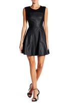 Blanc Noir Faux Leather Fit & Flare Dress