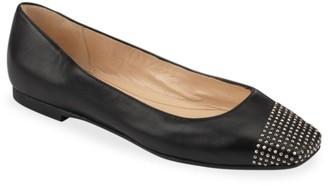 Jimmy Choo Davia Square-Toe Studded Leather Ballet Flats
