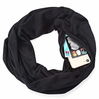 Aerobin Scarf with Zip Pocket Cheap4uk Unisex Autumn Winter Scarf Infinity Loop Scarf Solid O Ring Scarves with Hidden Zipper Pocket
