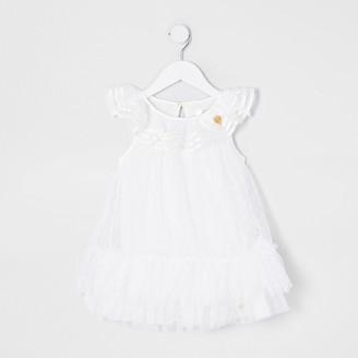River Island Mini girls white 'Angel Face' ruffle dress