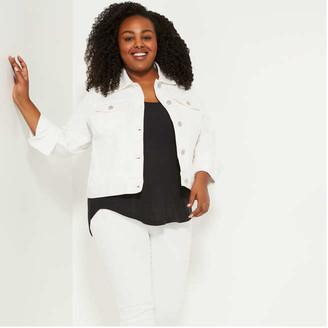 Joe Fresh Women+ White Denim Jacket, White (Size 3X)