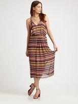 Striped Silk Racerback Dress