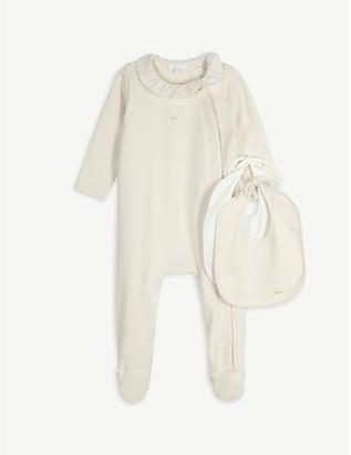 Chloé Frilled cotton babygrow and bib set 1-9 months