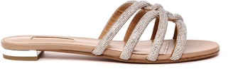 Aquazzura Crystals-embellished Leather Flats Sandals
