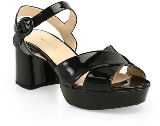 Prada Crisscross Patent Leather Platform Sandals