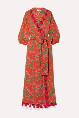 Rhode Resort Lena Tassled Floral-print Cotton-voile Wrap Maxi Dress - Red