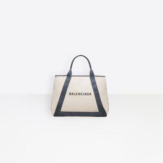 Balenciaga Large size cotton canvas and calfskin tote bag