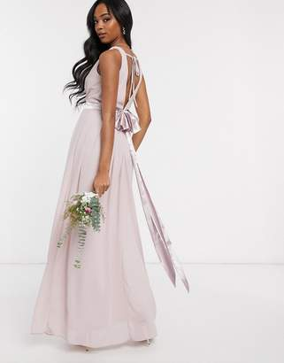 TFNC Bridesmaids wrap front bow back maxi dress in pink
