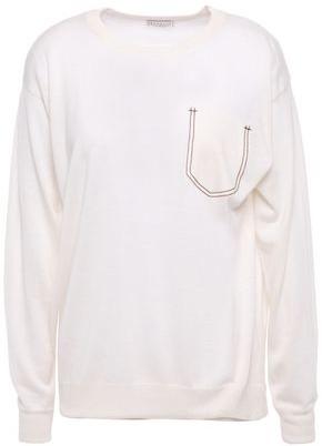 Brunello Cucinelli Bead-embellished Cashmere, Silk And Hemp-blend Top