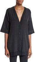 Agnona Short-Sleeve Button-Front Tunic, Black