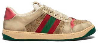 Gucci Screener Gg Supreme Leather Trainers - Mens - Pink Multi