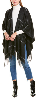 Portolano Checkered Fringe Wool-Blend Shawl