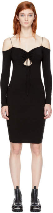 Alexander Wang Black Long Sleeve Cut-Out Off-the-Shoulder Dress