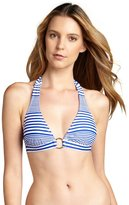 Shoshanna cobalt and white striped ring detailed halter top