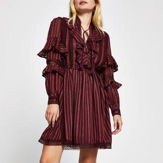 River Island Womens Red long sleeve stripe frill mini dress