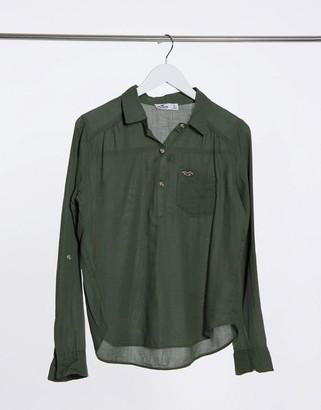 Hollister sheer button-through shirt in khaki